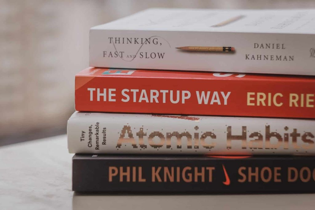 Pile of self-improvement books